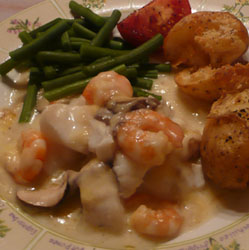 Cod and Prawn Bake in Cheese Sauce