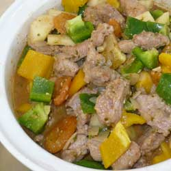 Pork with Pears, Apricots and Chilli